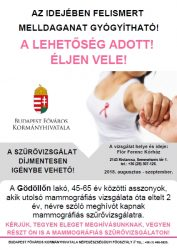 Gödöllő Város Önkormányzata Augusztustól szeptemberig mammográfiás szűrővizsgálat lesz Kistarcsán