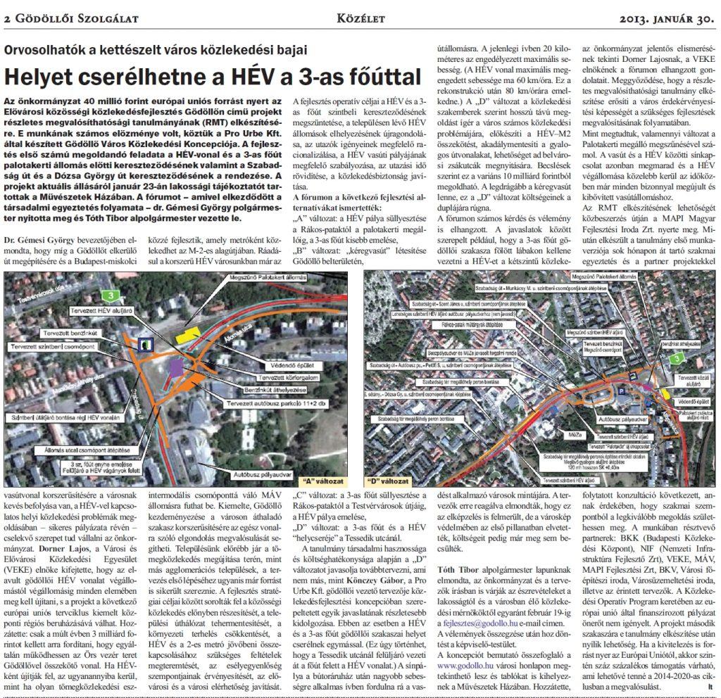 Gödöllő Város Önkormányzata Elővárosi közösségi közlekedés fejlesztése Gödöllőn – Részletes megvalósíthatósági tanulmány elkészítése