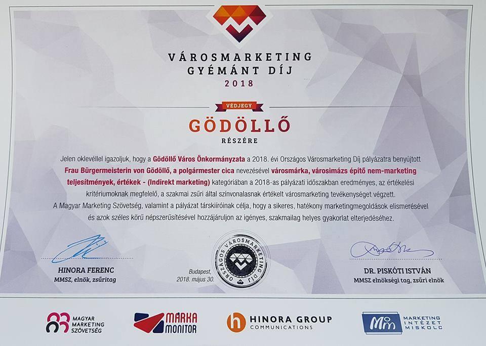 Városmarketing Gyémánt Díjakat nyert Gödöllő