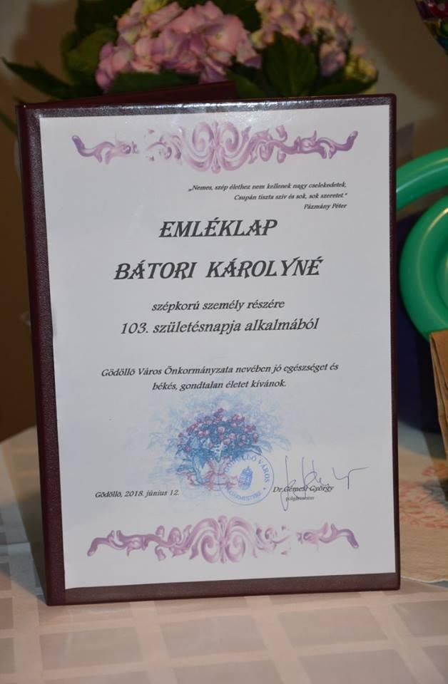 103. születésnapján köszöntötték Bátori Károlynét