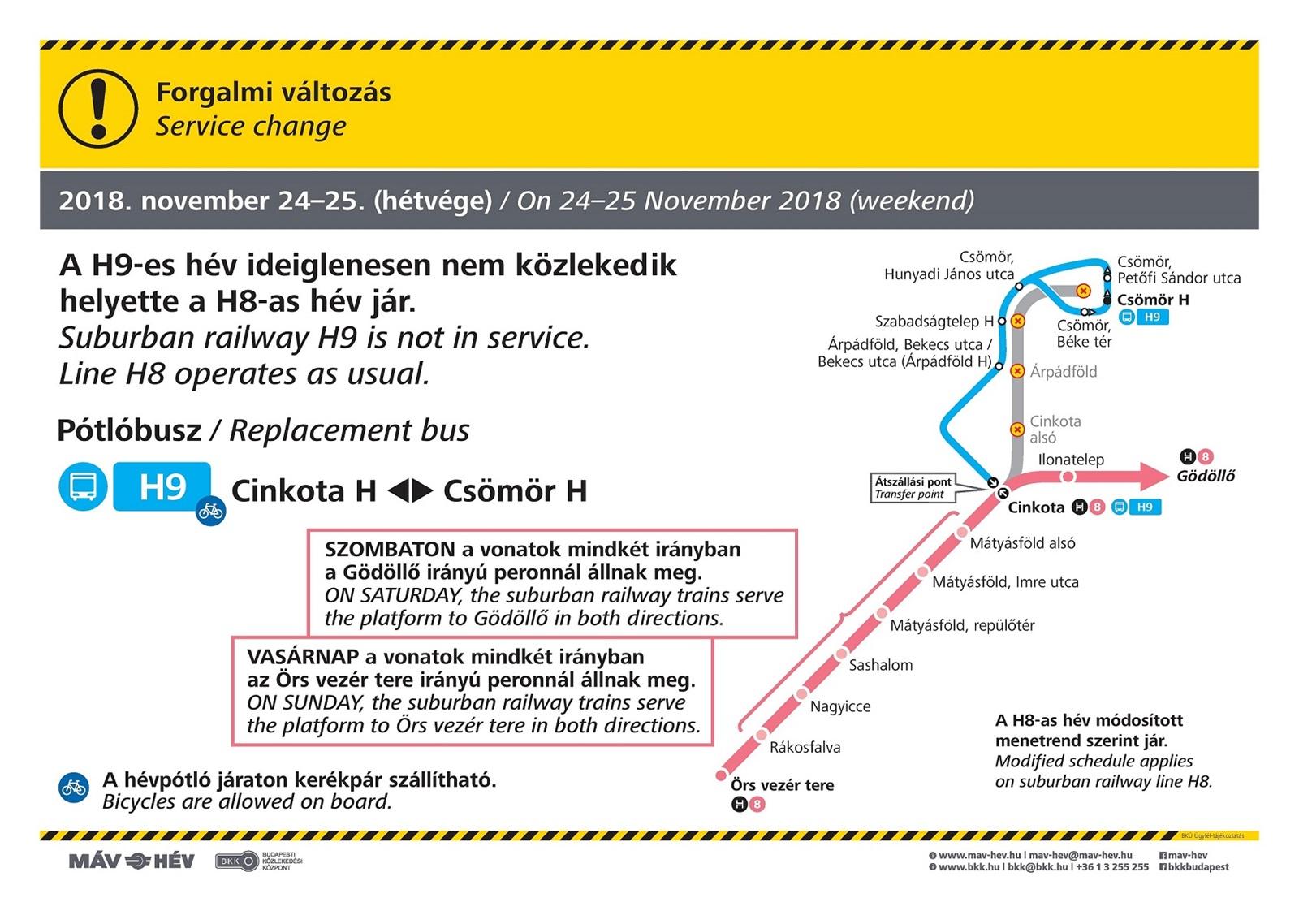 November 24-én és 25-én változik a H8-as és a H9-es HÉV közlekedése