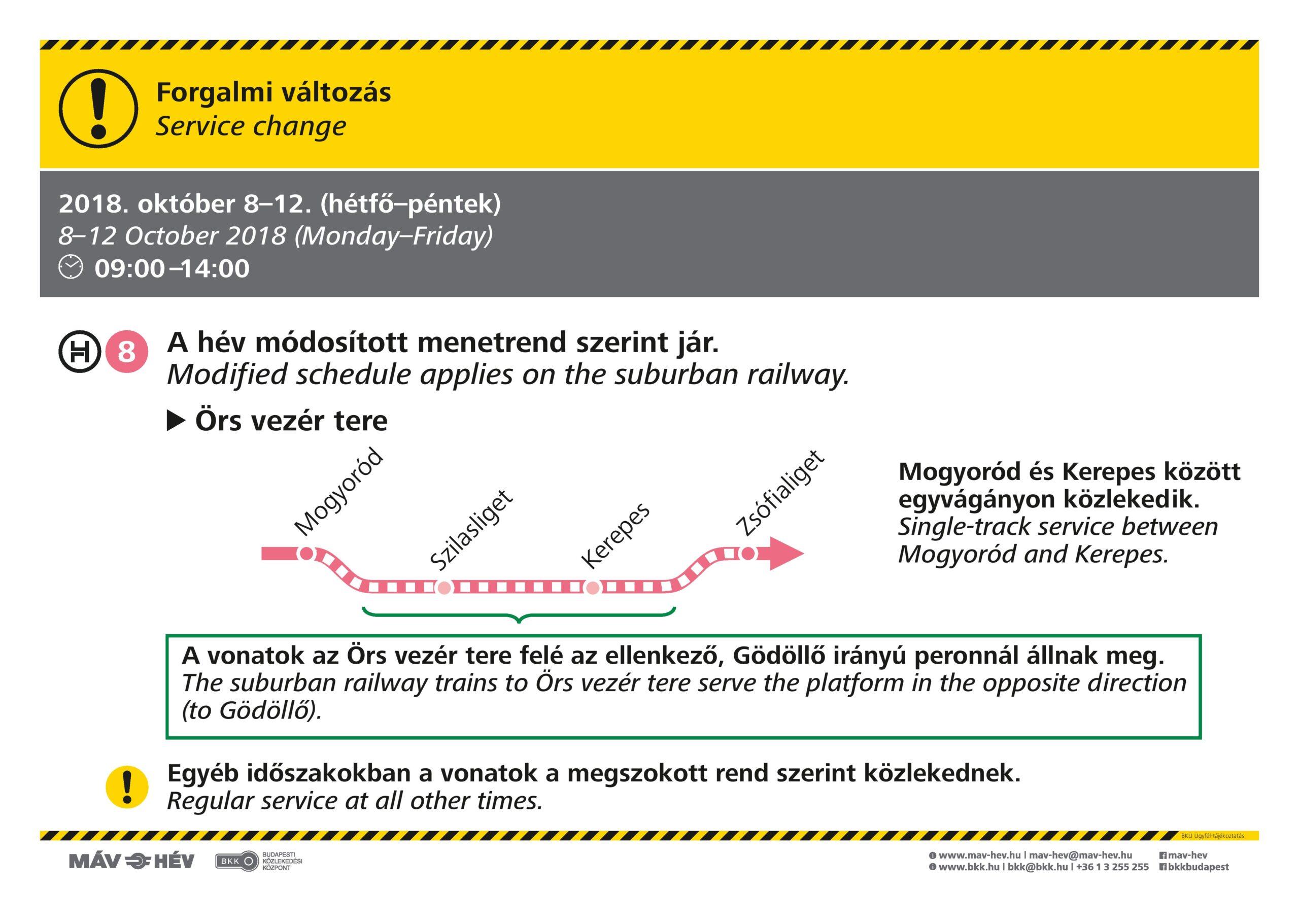 Forgalmi változások a H8-as HÉV vonalán