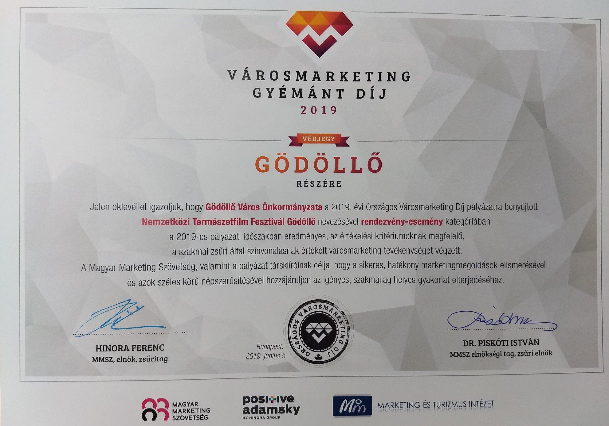 Városmarketing gyémánt díjat kapott a Nemzetközi Természetfilm Fesztivál