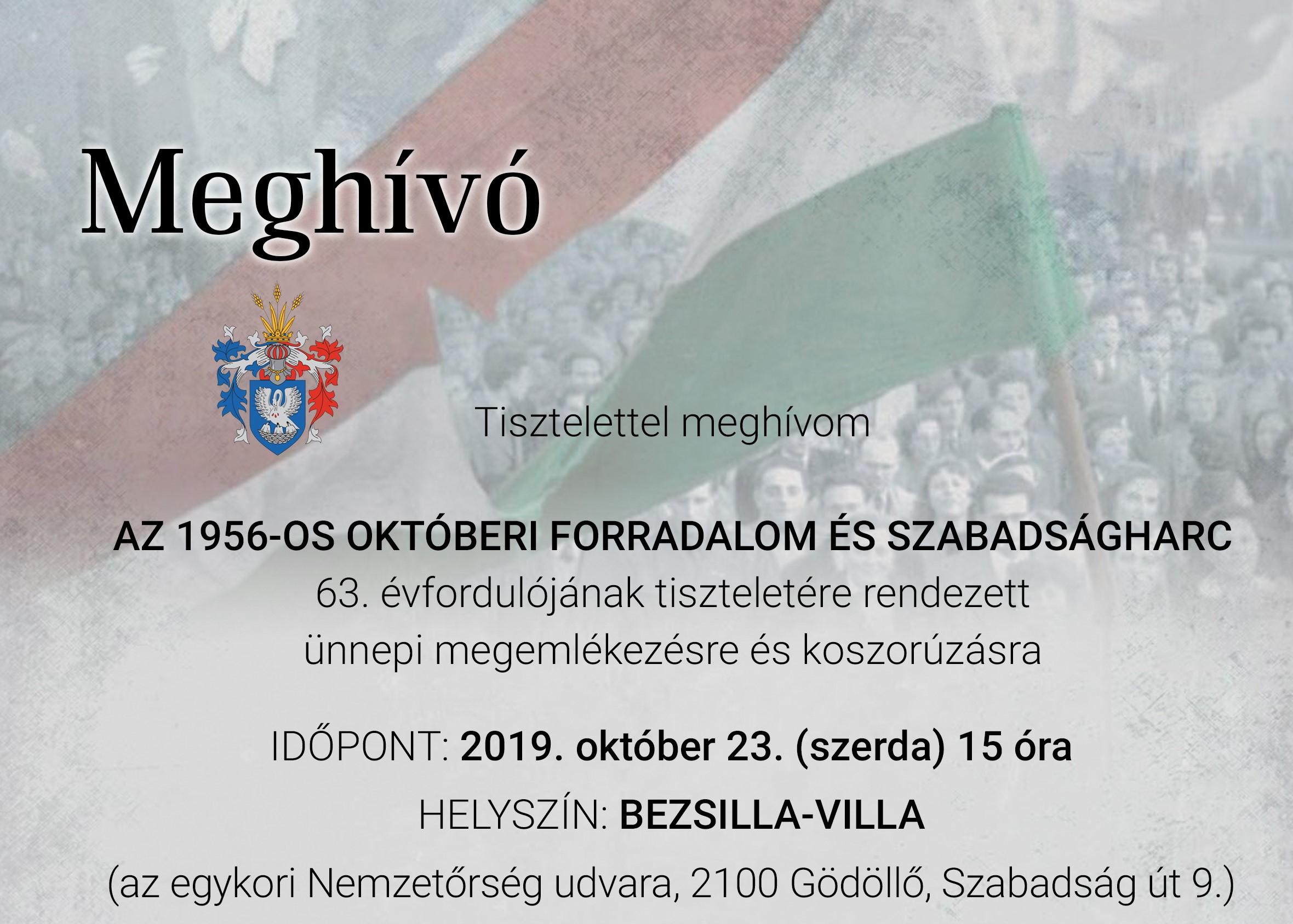 Meghívó az október 23-ai ünnepi megemlékezésre
