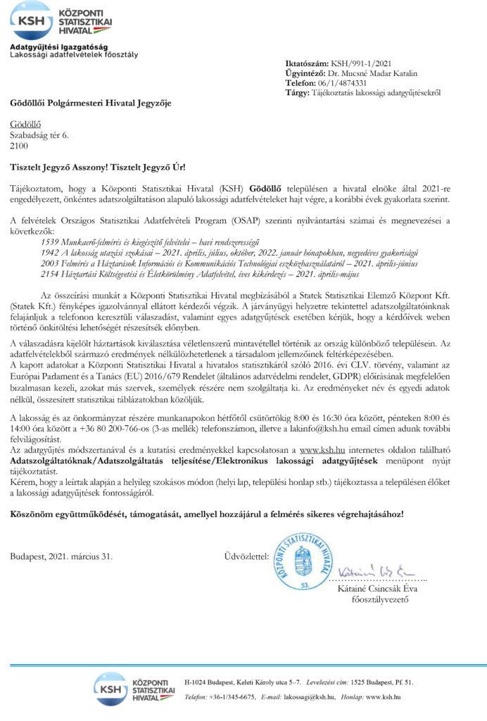 Gödöllő Város Önkormányzata KSH: Újabb felmérések