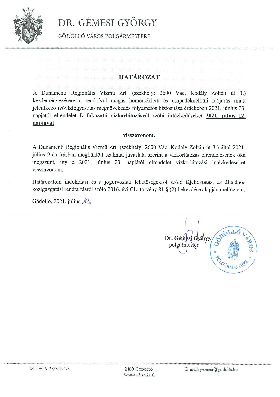 Gödöllő Város Önkormányzata Vízkorlátozás visszavonás